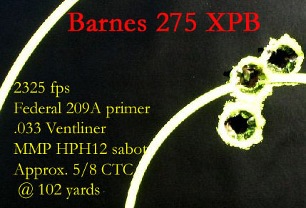 Barnes 275 gr bullet group