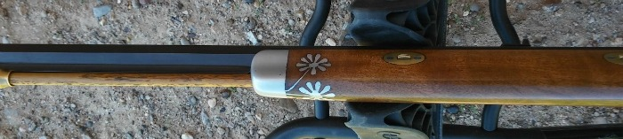 Hand cast pewter fore end cap with inlaid daisies