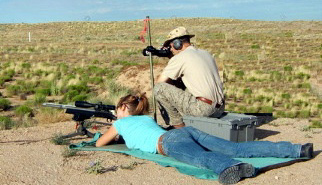 Susannah Clary & Andy McCourt on the firing line with the 6mmBR rifle.