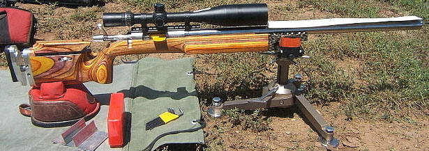 F-Class Open Target Rifle with 12-42x56mm Nightforce Scope.