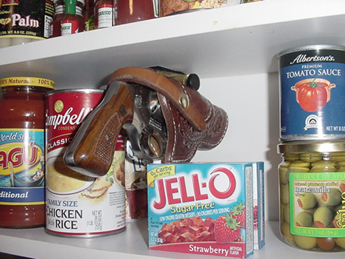 Grassburr holster mounted in a pantry