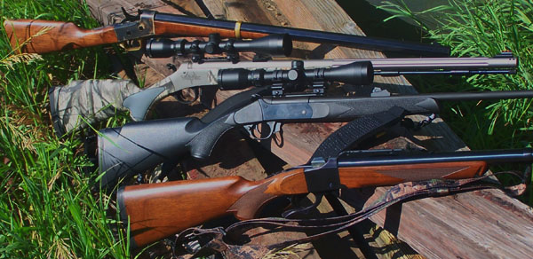 A selecton of single shot hunting rifles