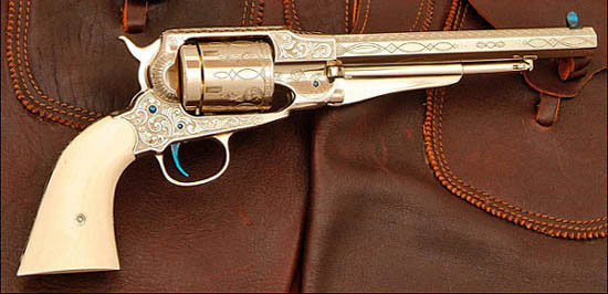 Remington pattern revolver engraved by Rocky Hays