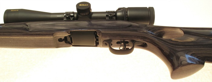 Trigger guard, slenderized grip and subtly rounded stock contours after refinishing