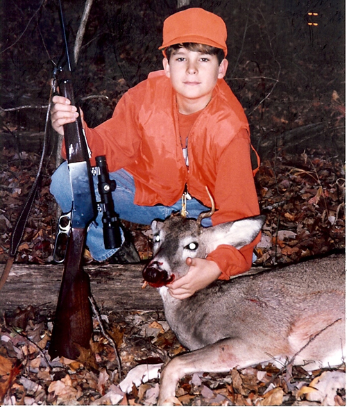 A picture of Adam and his first buck.