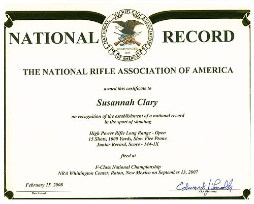 National Record Certificate