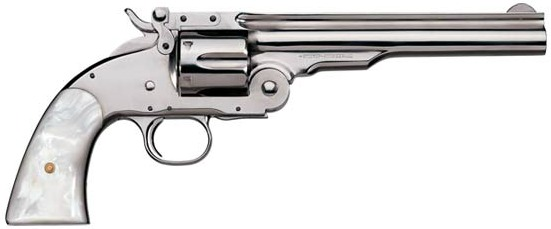 Uberti Nickel Finish .38 Special 1875 No. 3 Top Break 2nd Model Schofield Revolver