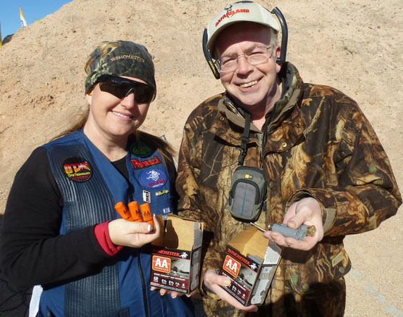 Kim Rhode and the author holding AA TrAAcker shells.